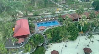 The View of Pool, Lamp Bassar Villa, Sannai Villa and the White sandy Beach..